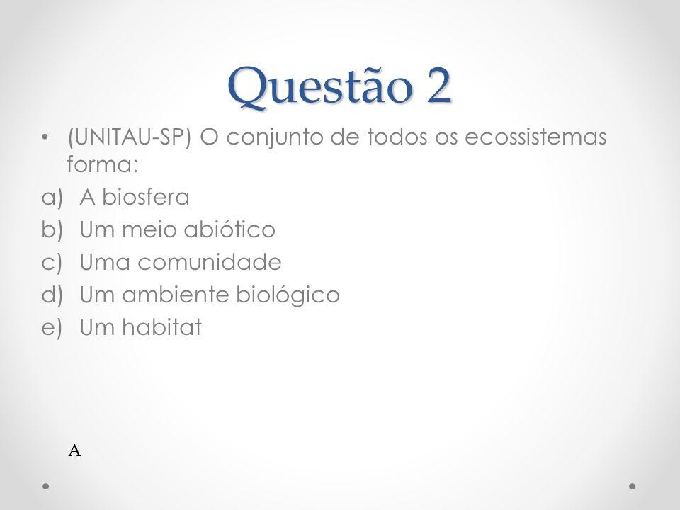 Questão 2 (UNITAU-SP) O conjunto de todos os ecossistemas forma: