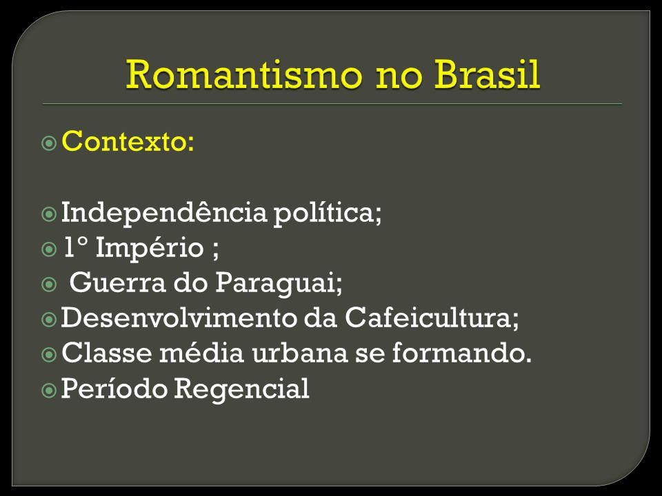 Romantismo no Brasil Contexto: Independência política; 1º Império ;