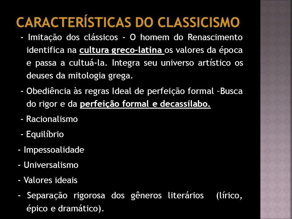 Características do classicismo