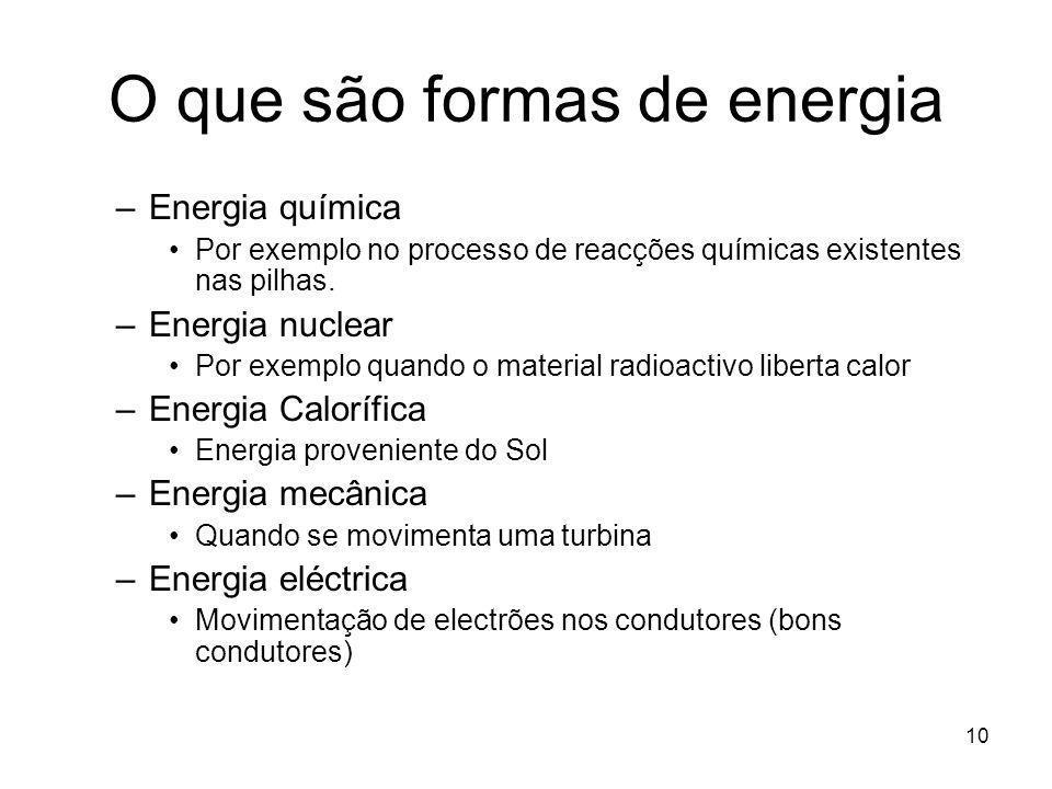 O que são formas de energia