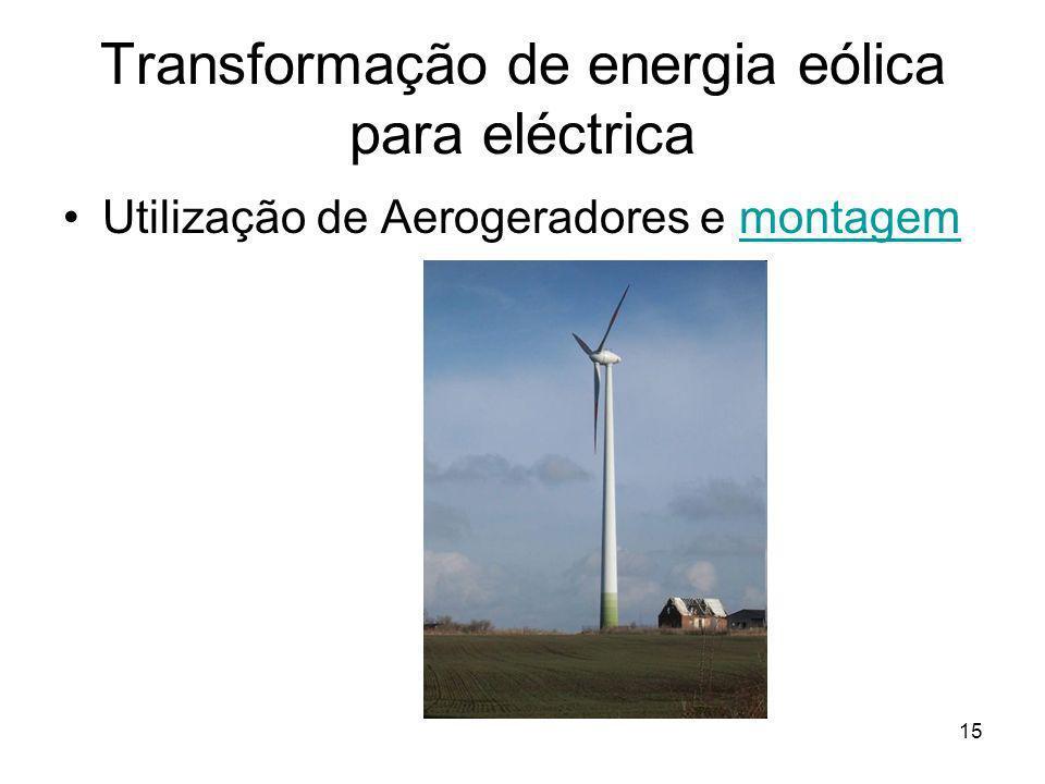 Transformação de energia eólica para eléctrica