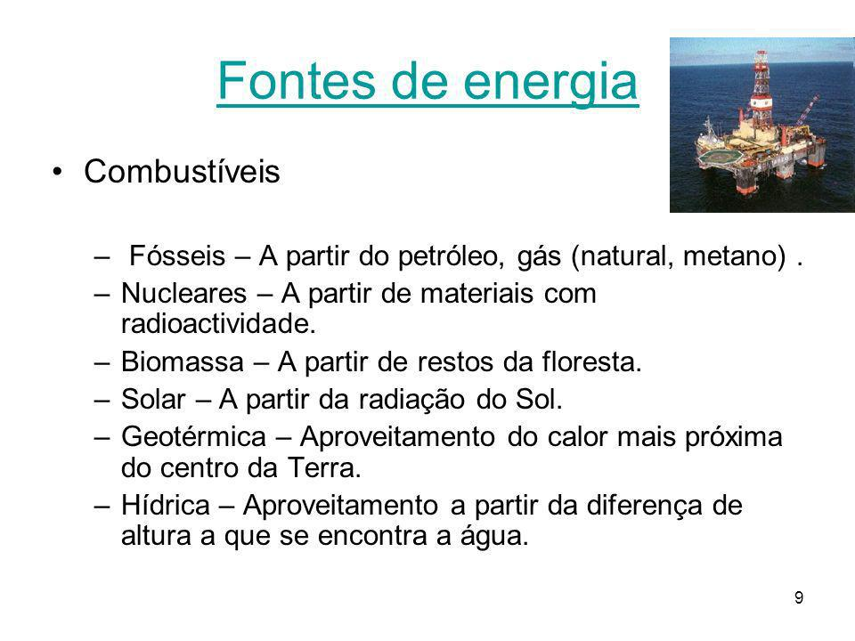 Fontes de energia Combustíveis
