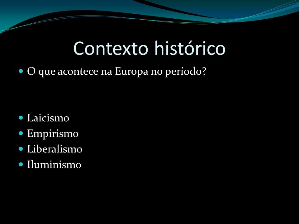 Contexto histórico O que acontece na Europa no período Laicismo