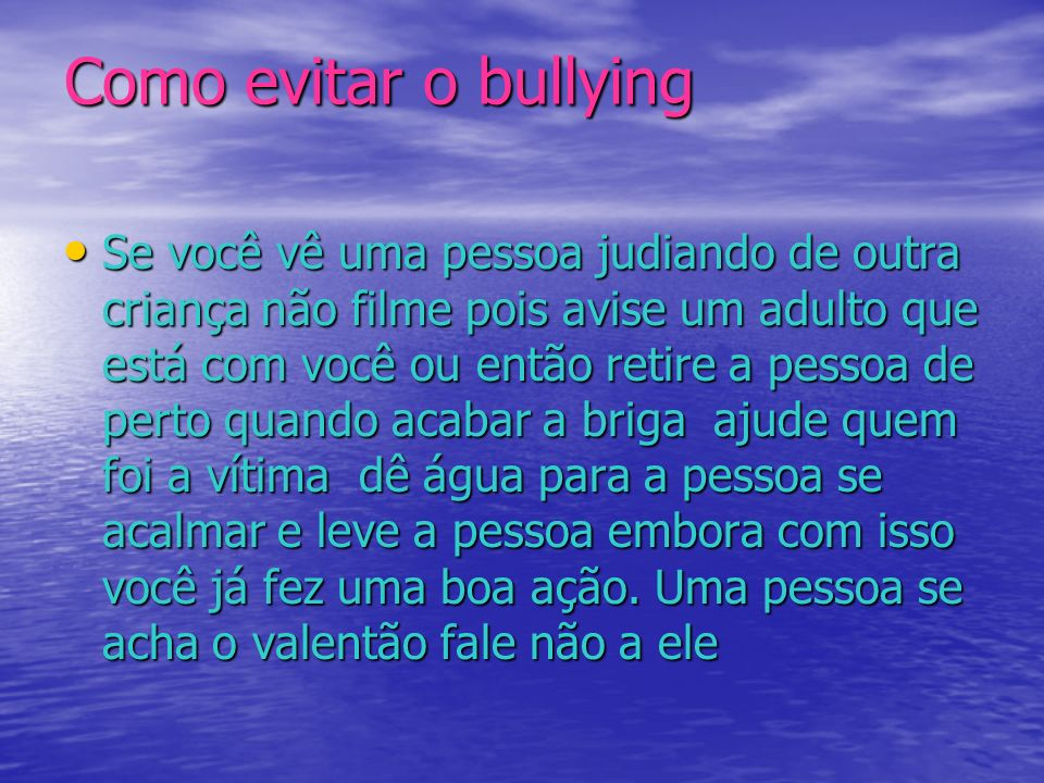 Como evitar o bullying