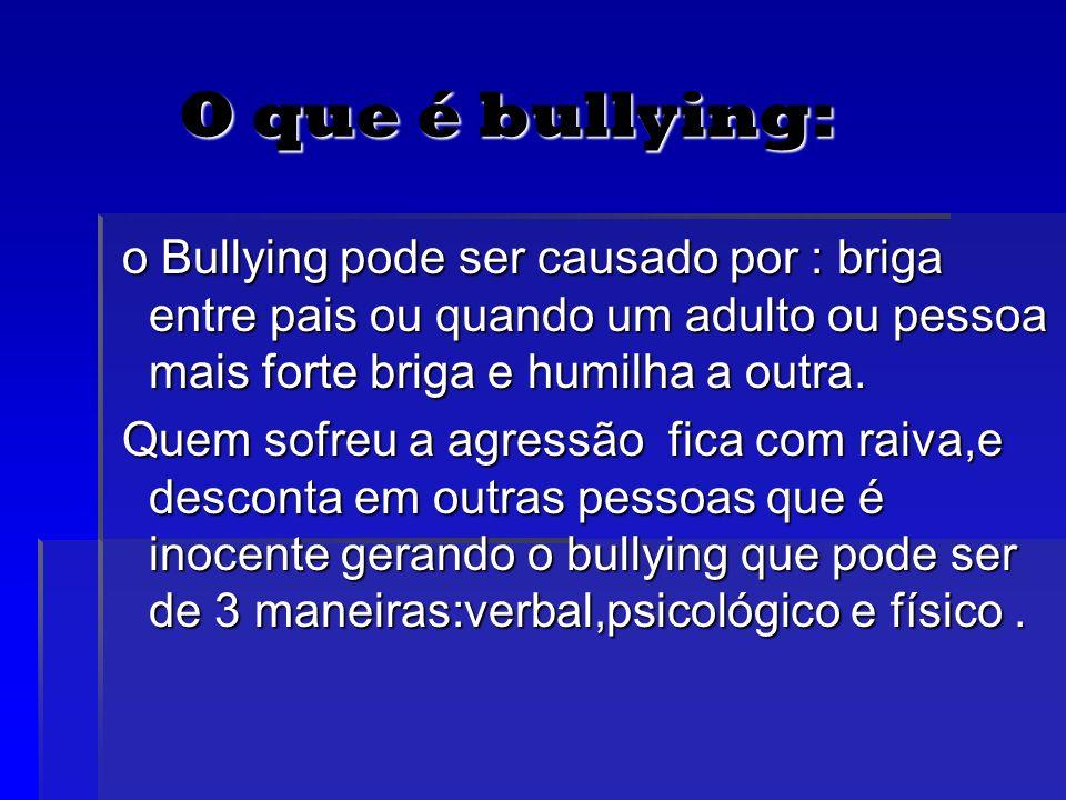 O que é bullying:o Bullying pode ser causado por : briga entre pais ou quando um adulto ou pessoa mais forte briga e humilha a outra.