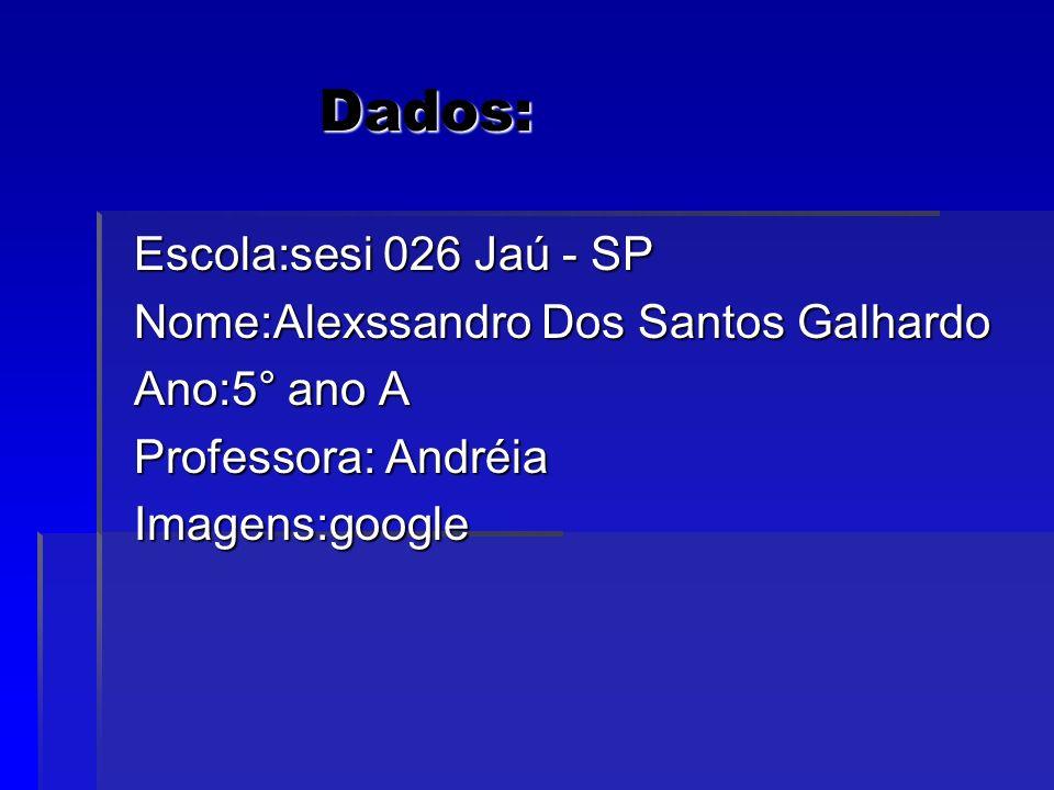Dados: Escola:sesi 026 Jaú - SP Nome:Alexssandro Dos Santos Galhardo