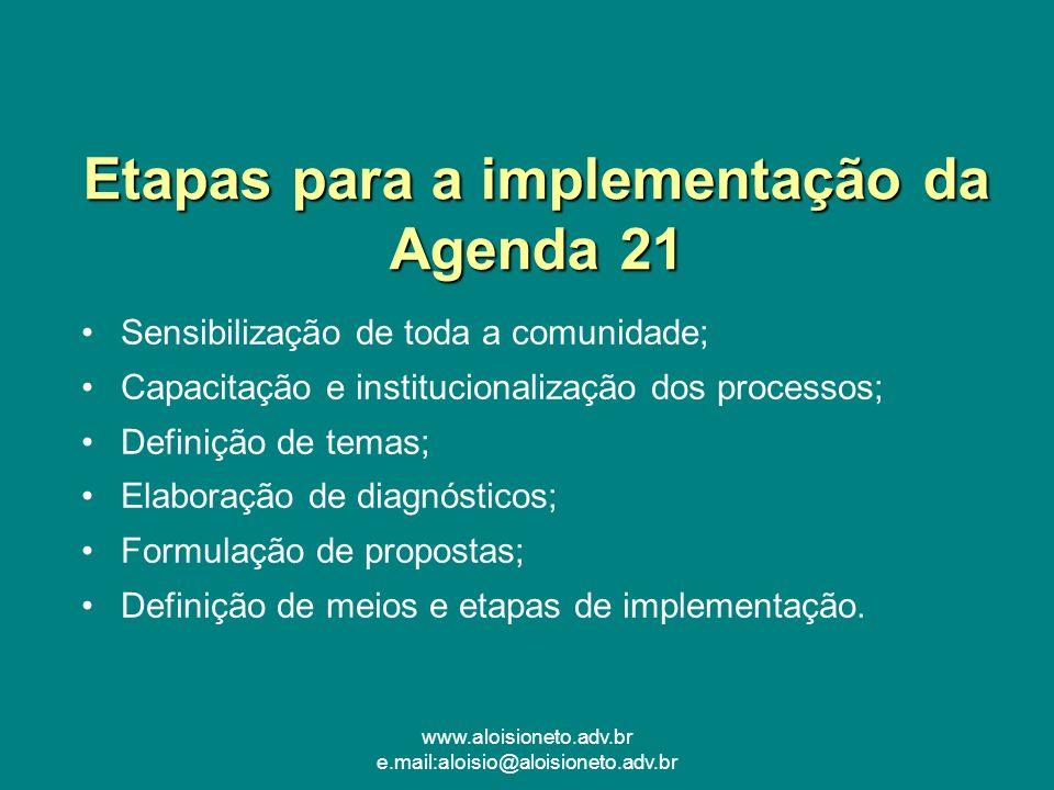 Etapas para a implementação da Agenda 21