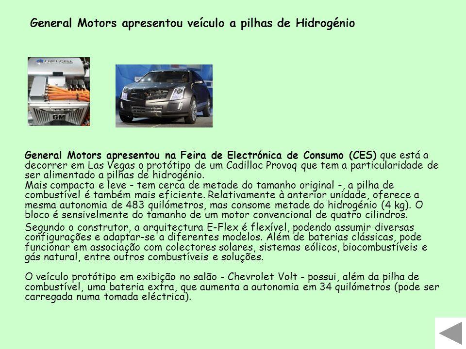 General Motors apresentou veículo a pilhas de Hidrogénio