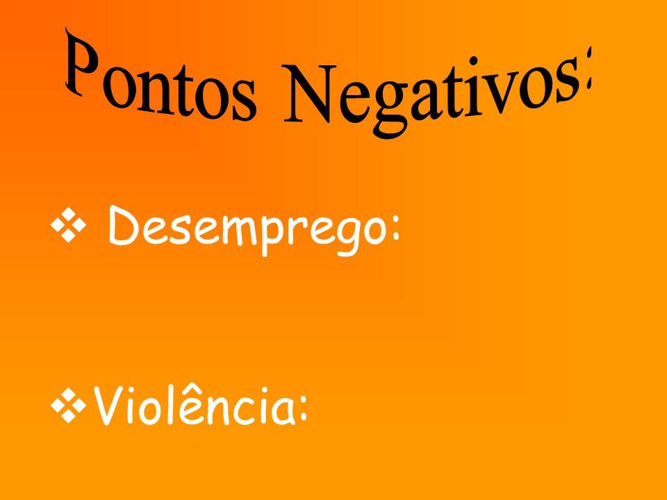 Pontos Negativos: Desemprego: Violência: