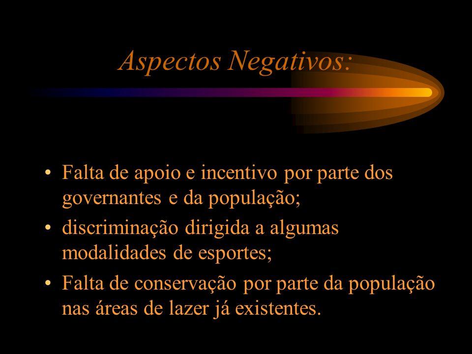 Aspectos Negativos: Falta de apoio e incentivo por parte dos governantes e da população; discriminação dirigida a algumas modalidades de esportes;