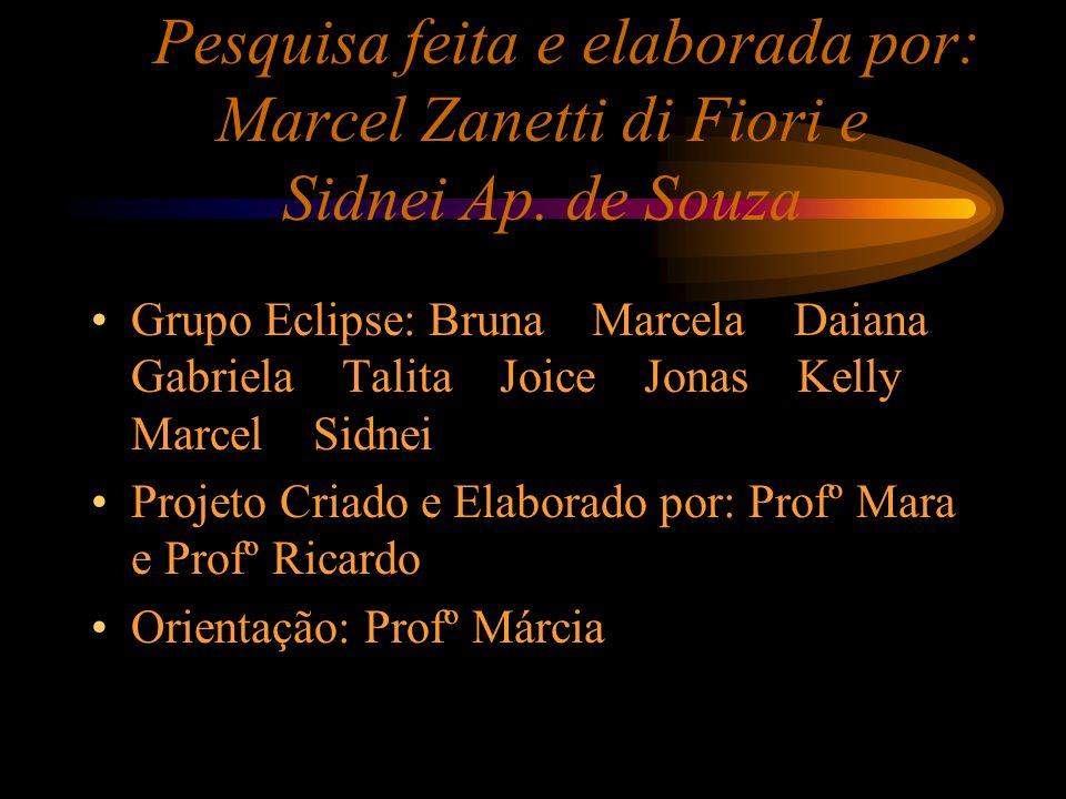 Pesquisa feita e elaborada por: Marcel Zanetti di Fiori e Sidnei Ap