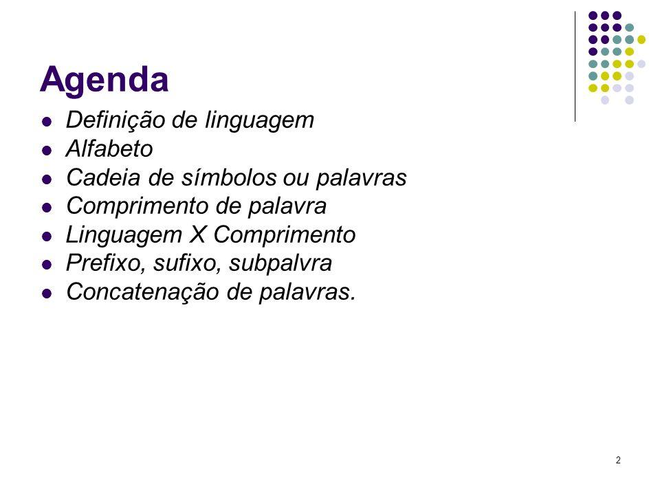Agenda Definição de linguagem Alfabeto Cadeia de símbolos ou palavras