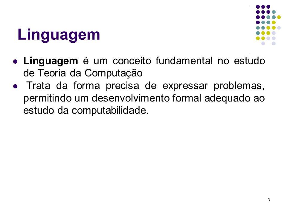 Linguagem Linguagem é um conceito fundamental no estudo de Teoria da Computação.