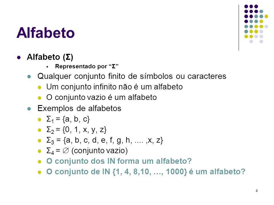 Alfabeto Alfabeto (Σ) Representado por Σ Qualquer conjunto finito de símbolos ou caracteres. Um conjunto infinito não é um alfabeto.