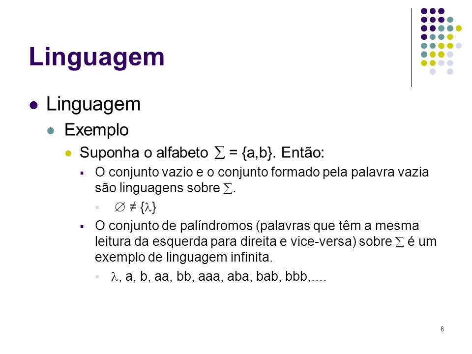 Linguagem Linguagem Exemplo Suponha o alfabeto  = {a,b}. Então: