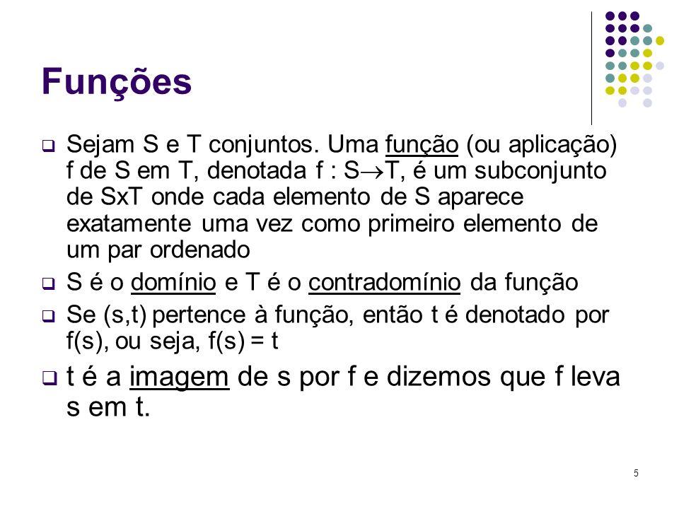 Funções t é a imagem de s por f e dizemos que f leva s em t.