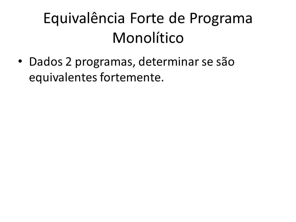 Equivalência Forte de Programa Monolítico