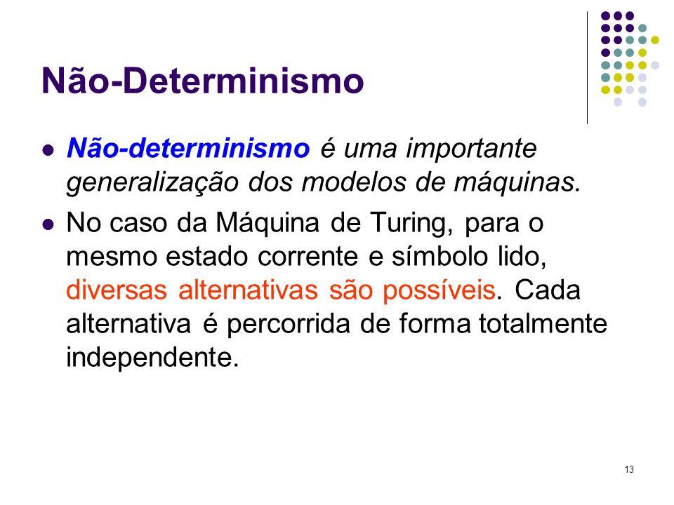 Não-Determinismo Não-determinismo é uma importante generalização dos modelos de máquinas.