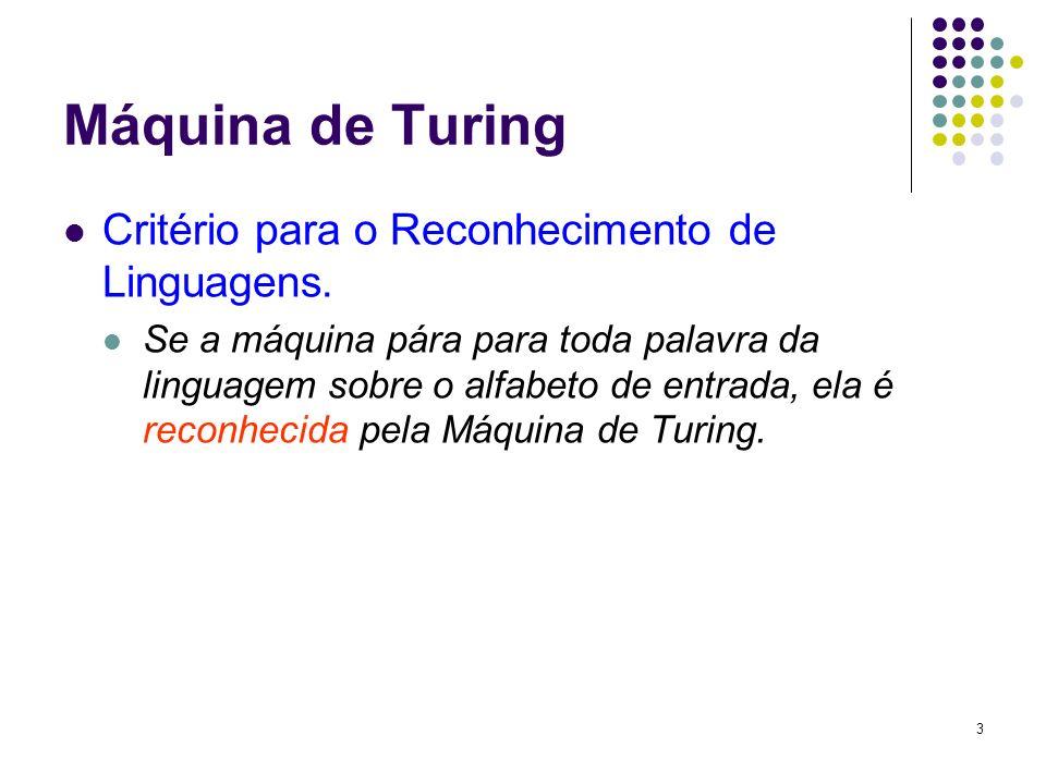 Máquina de Turing Critério para o Reconhecimento de Linguagens.