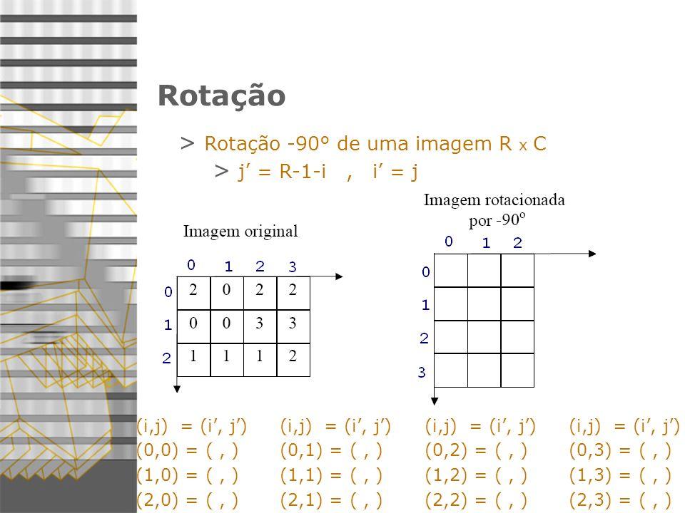 Rotação Rotação -90° de uma imagem R x C j' = R-1-i , i' = j