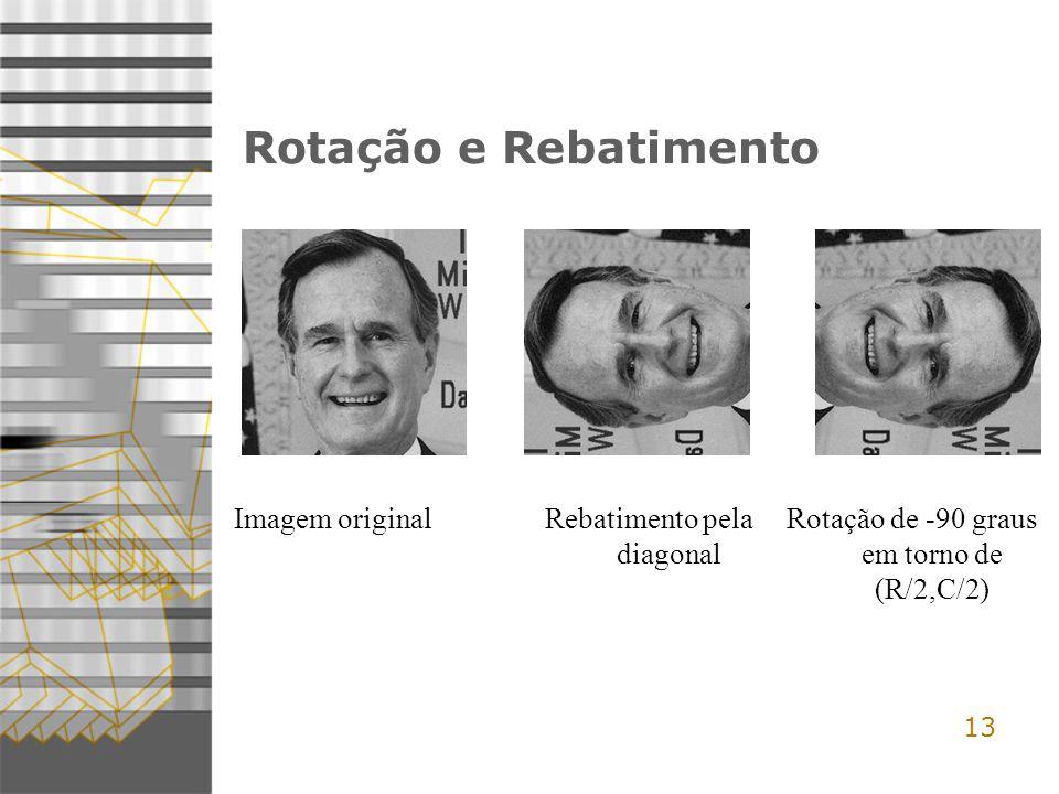 Rotação e Rebatimento Imagem original Rebatimento pela diagonal