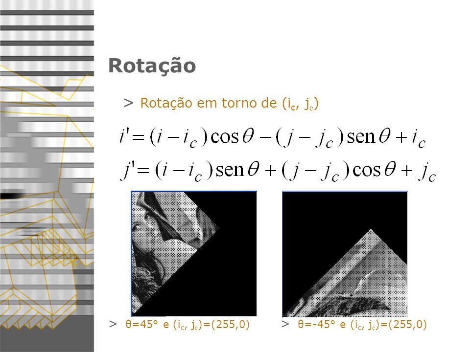 Rotação Rotação em torno de (ic, jc) θ=45° e (ic, jc)=(255,0)