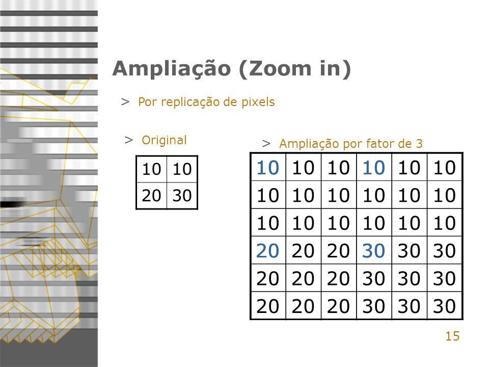Ampliação (Zoom in) Por replicação de pixels. Original. Ampliação por fator de 3. 10. 20. 30. 10.