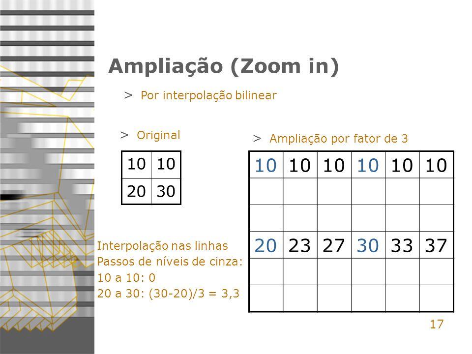 Ampliação (Zoom in) Por interpolação bilinear. Original. Ampliação por fator de 3. 10. 20. 30.