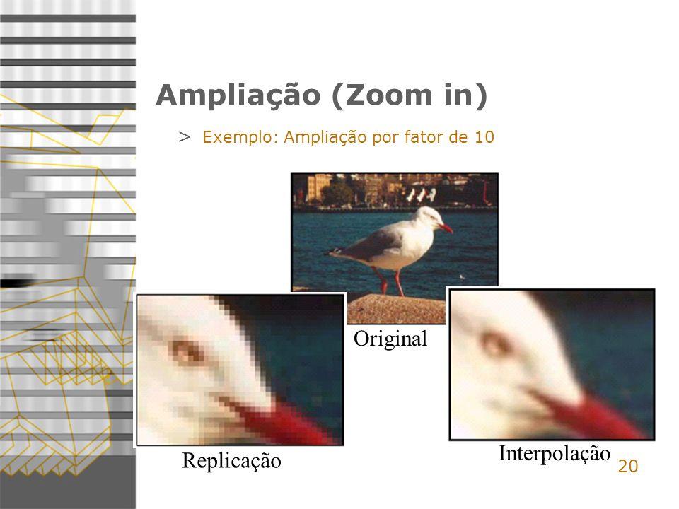 Ampliação (Zoom in) Original Interpolação Replicação 20