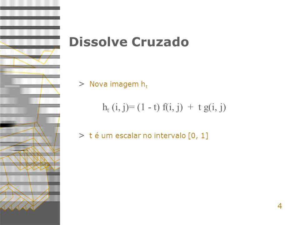 Dissolve Cruzado ht (i, j)= (1 - t) f(i, j) + t g(i, j) 4