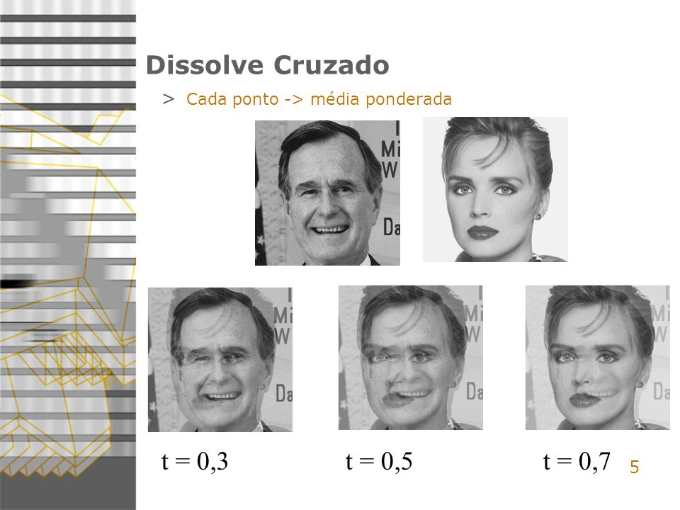 t = 0,3 t = 0,5 t = 0,7 Dissolve Cruzado 5