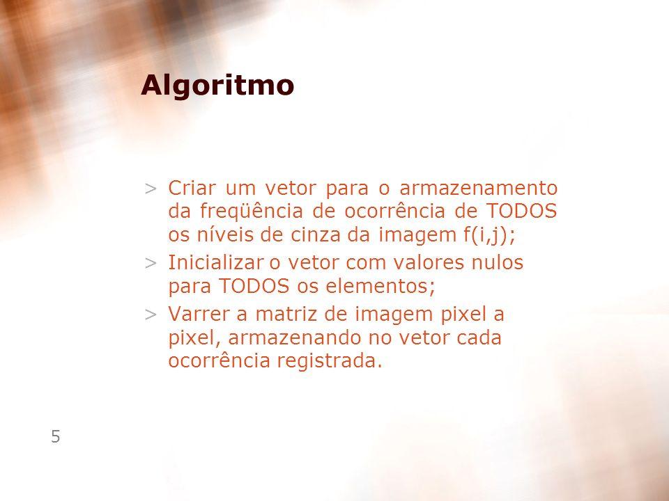 Algoritmo Criar um vetor para o armazenamento da freqüência de ocorrência de TODOS os níveis de cinza da imagem f(i,j);