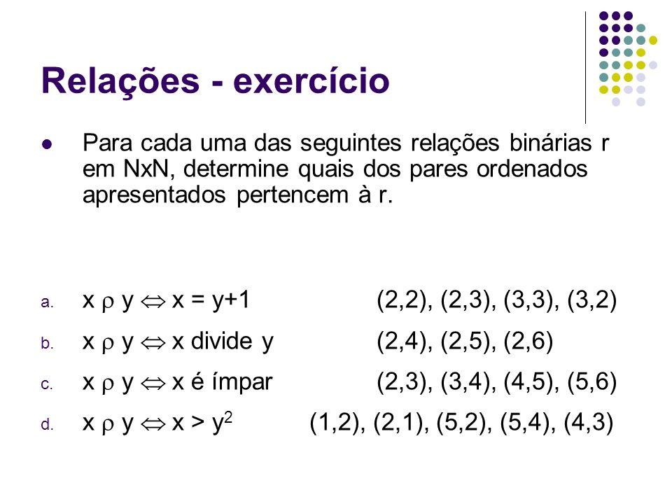 Relações - exercício Para cada uma das seguintes relações binárias r em NxN, determine quais dos pares ordenados apresentados pertencem à r.