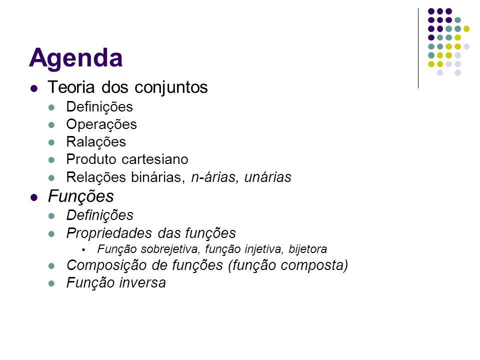 Agenda Teoria dos conjuntos Funções Definições Operações Ralações