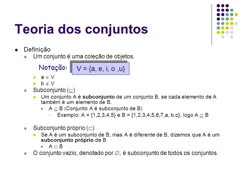 Teoria dos conjuntos Notação: V = {a, e, i, o ,u} Definição