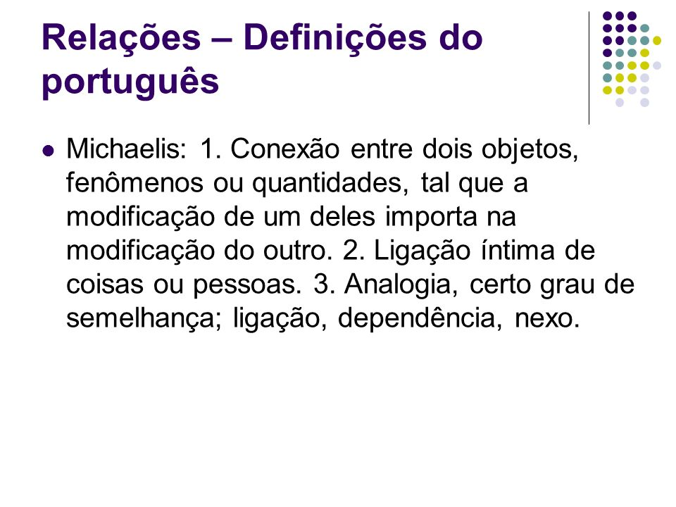 Relações – Definições do português