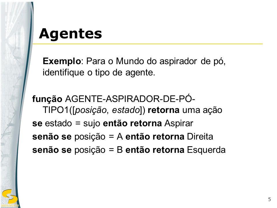 Agentes Exemplo: Para o Mundo do aspirador de pó, identifique o tipo de agente.