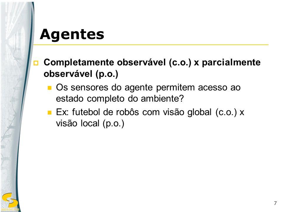 Agentes Completamente observável (c.o.) x parcialmente observável (p.o.) Os sensores do agente permitem acesso ao estado completo do ambiente