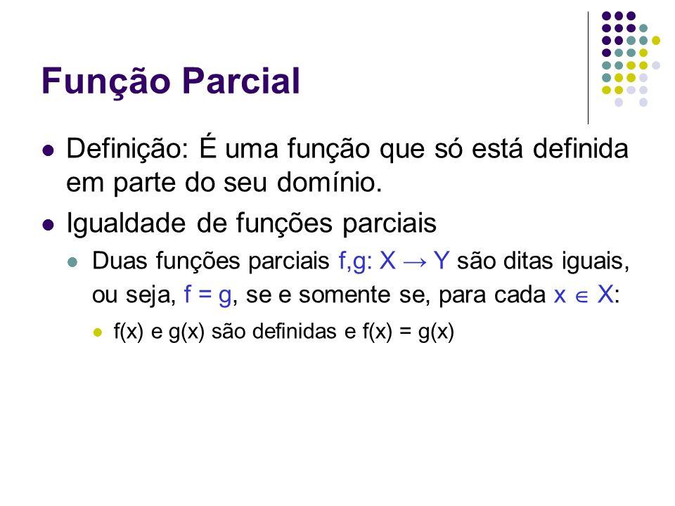 Função ParcialDefinição: É uma função que só está definida em parte do seu domínio. Igualdade de funções parciais.