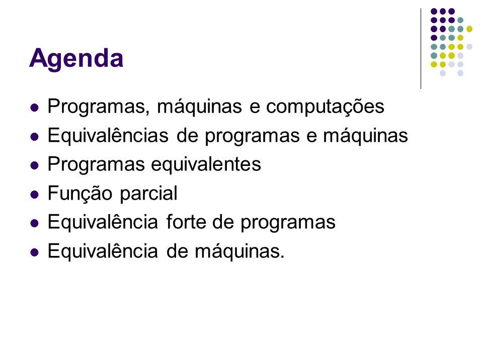 Agenda Programas, máquinas e computações