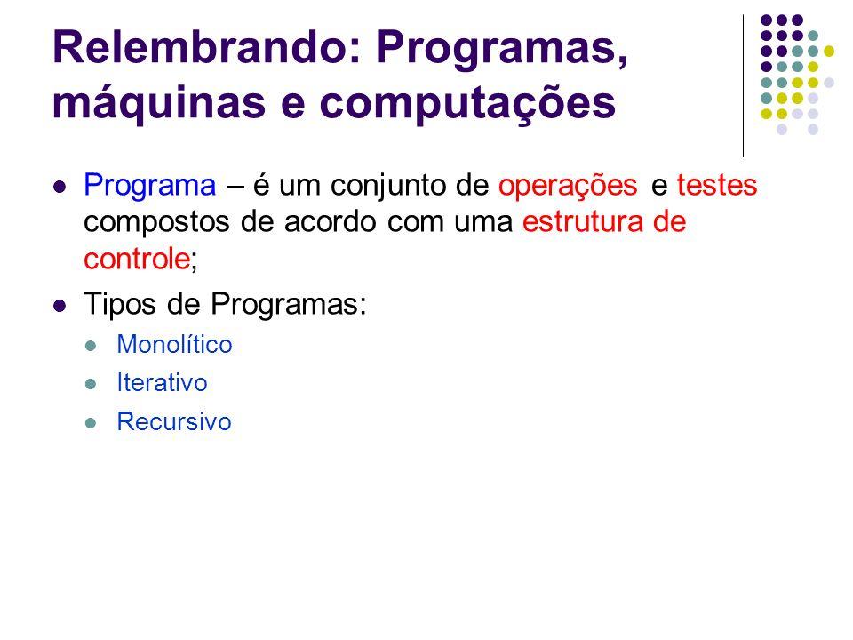 Relembrando: Programas, máquinas e computações