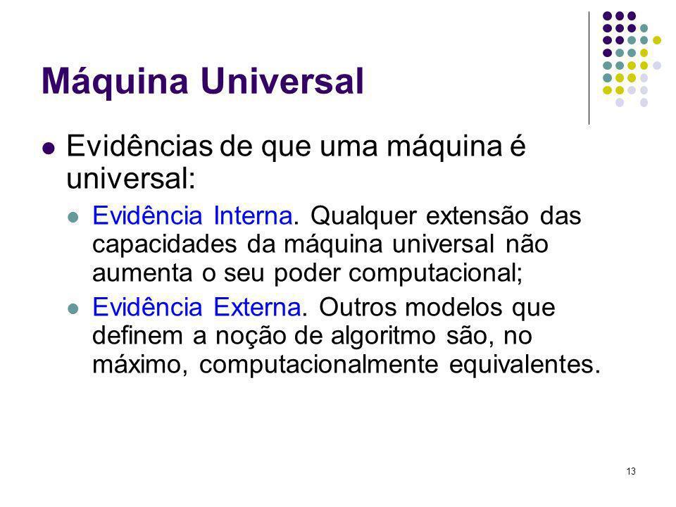Máquina Universal Evidências de que uma máquina é universal: