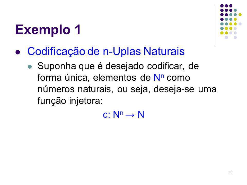 Exemplo 1 Codificação de n-Uplas Naturais