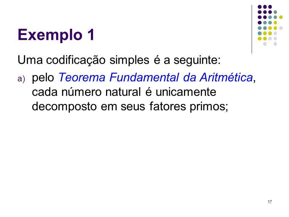 Exemplo 1 Uma codificação simples é a seguinte: