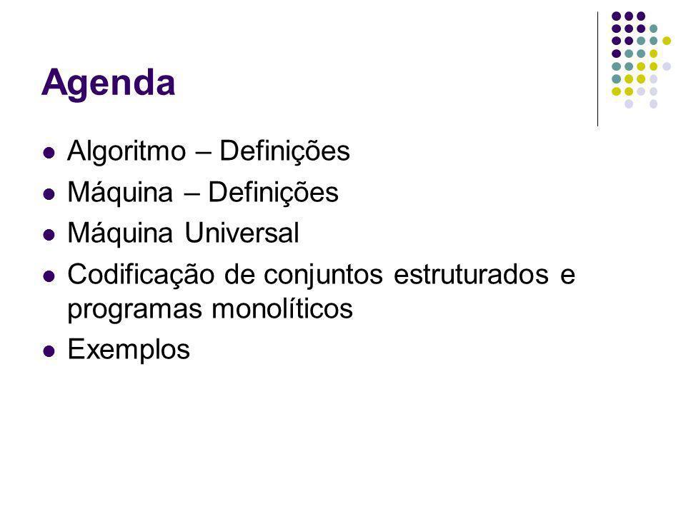 Agenda Algoritmo – Definições Máquina – Definições Máquina Universal