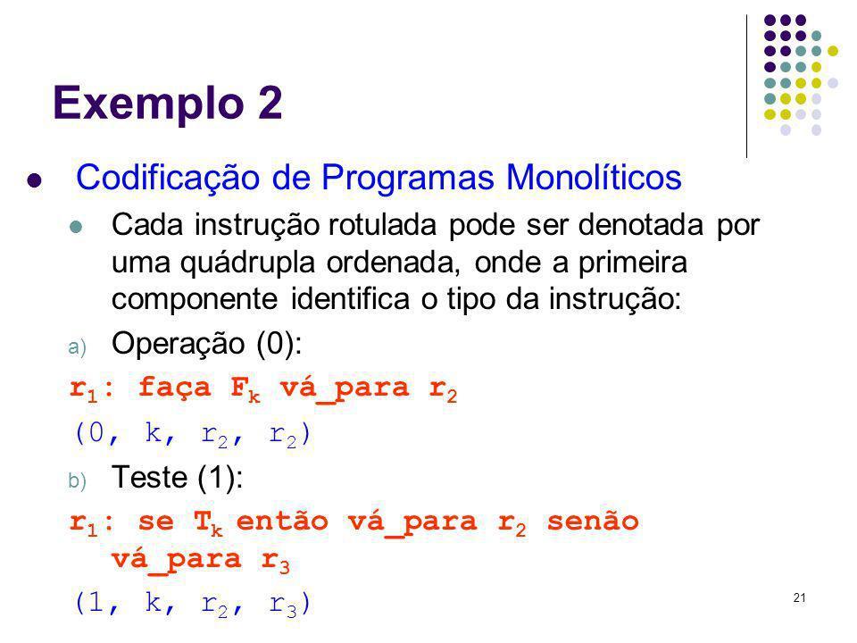 Exemplo 2 Codificação de Programas Monolíticos