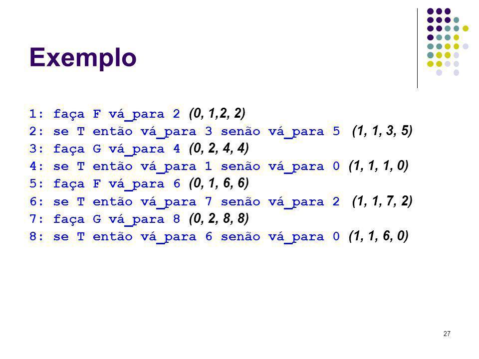 Exemplo 1: faça F vá_para 2 (0, 1,2, 2)