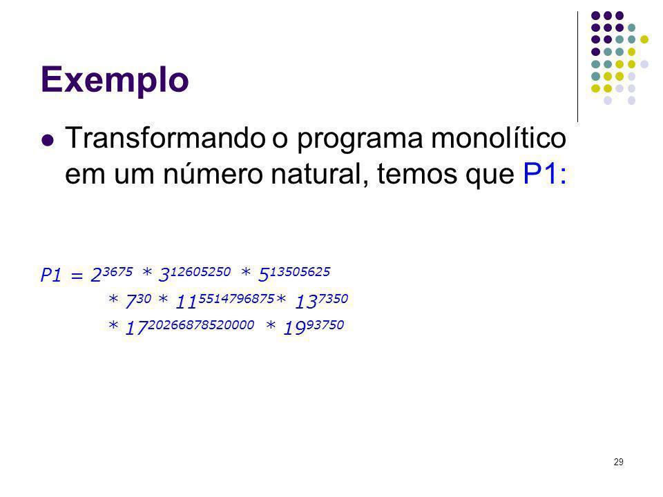 Exemplo Transformando o programa monolítico em um número natural, temos que P1: P1 = 23675 * 312605250 * 513505625.