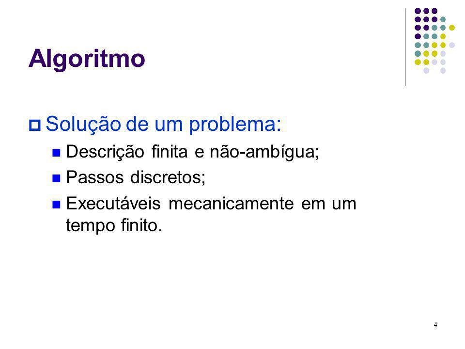 Algoritmo Solução de um problema: Descrição finita e não-ambígua;