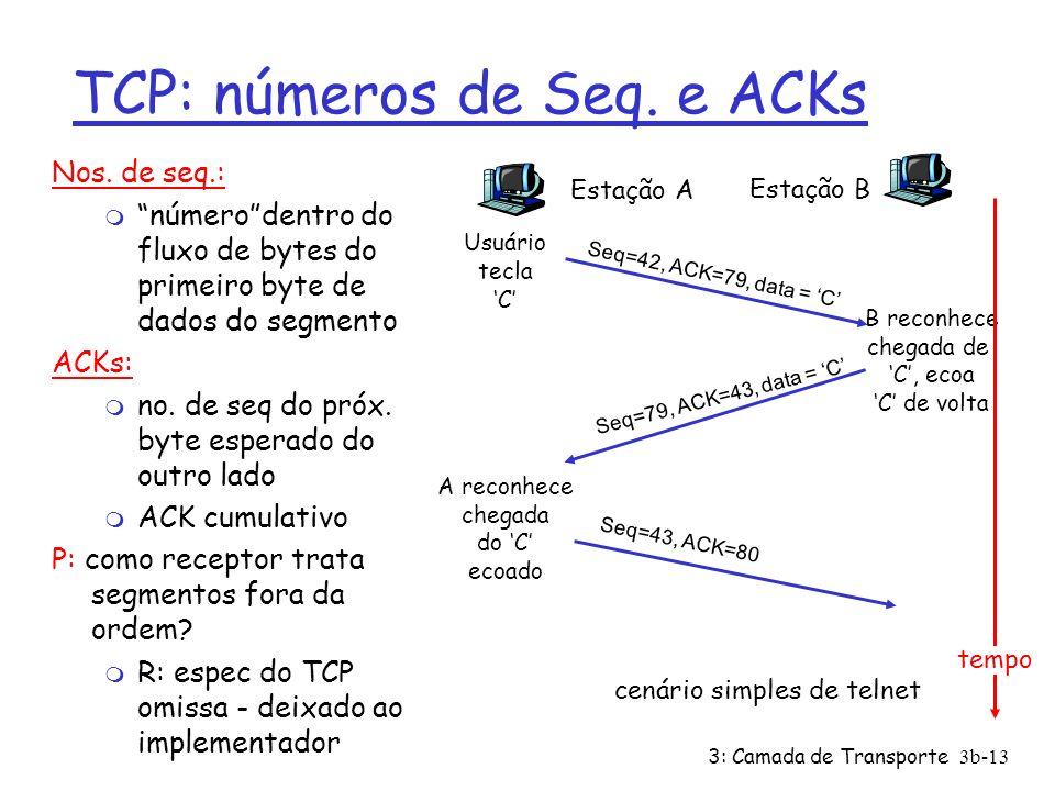 TCP: números de Seq. e ACKs